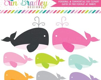 50% OFF SALE Girl Whales Clipart in Pink Navy Blue Purple Green & Orange, Nautical Clipart, Sea Clipart, Ocean Clip Art Graphics
