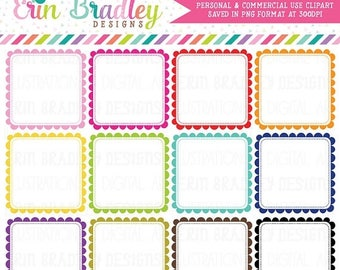 50% OFF SALE Scalloped Square Frames Clipart, Digital Clipart Label Graphics, Square Scallops Commercial Use Clip Art