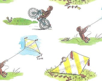 Children's Fabric, Curious George Flying Kites Cotton Fabric
