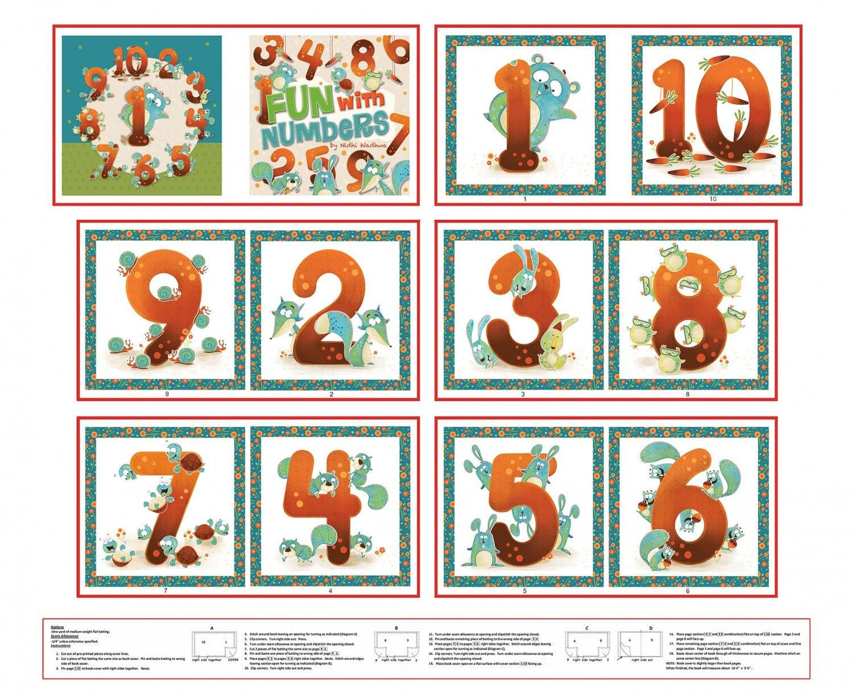 Book panel children 39 s fabric woodsy wonders numbers book for Children s fabric panels