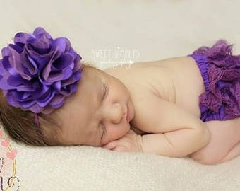 Purple Baby Bloomer SET, baby bloomers, bloomer, ruffle bum, polyester bloomers, diaper cover, baby girl, newborn photo, baby girl