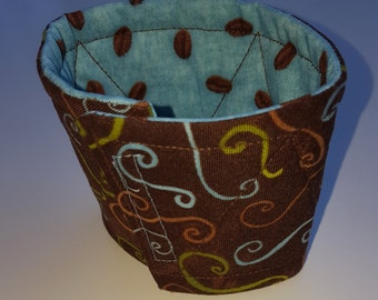 Fabric Cup Cozy Teal Coffee Bean and brown swirl prints, reversible cotton, coffee sleeve