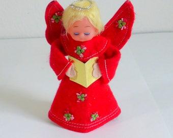 Vintage Christmas Angel with Red Felt Dress, Hymn  Book, Halo Vintage Angel Decoration Christmas Decoration Singing Angel Christmas Decor