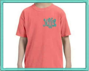 Youth Monogrammed Comfort Color shirt.  Girls comfort color T.  XS, S, M, L, LG, XL. Youth Monogrammed Shirt. CC9018