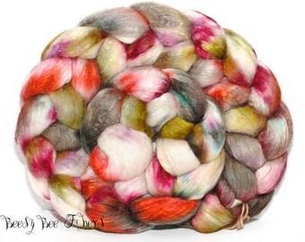 PERENNIAL GARDEN - merino, merino mulberry silk, roving, spinning fiber, roving, handpainted, hand dyed, top, hand dyed roving - 4.3 oz