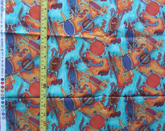 AZTEC-2 by Michael Miller Fabrics Patt # CM-150, designer fabric, aztec mexican theme, turtles on blue background, animal print, by the yard