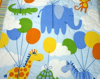 Quilt - Animals & Balloons Baby, Toddler, Crib Quilt and Matching Pillow