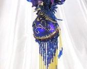 Blue Moon Celestial Moon and Star Blue Purple Gold Victorian Christmas Ornament