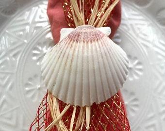 Scallop Napkin Ring with Copper Net Ribbon-  Beach Wedding - Seashore - shells