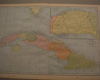 1898 LARGE Map Cuba - Vintage Antique Map Great for Framing 100 Years Old