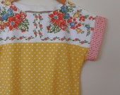 floral and spot...vintage fabric loose fit dress with pockets