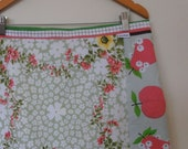 fruit and flowers...vintage tablecloth A line skirt
