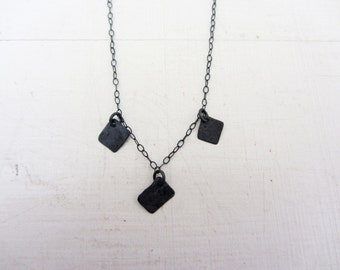 Oxidized sterling silver delicate square pendants necklace