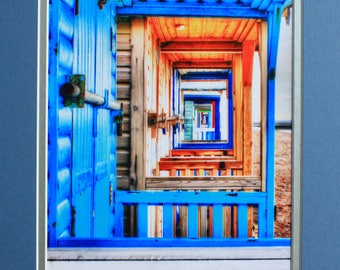 Looking through the beach huts