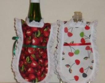 Wine Bottle Apron, Handmade,  Red Cherries, Bottle Gift Wrap, Kitchen Decor, Eyelet Lace, Dish Soap Apron