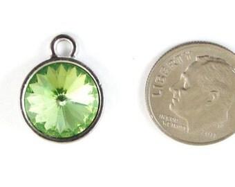 August Birthstone Charm-PERIDOT GREEN Swarovski Rivoli Crystal 14x18mm (1)