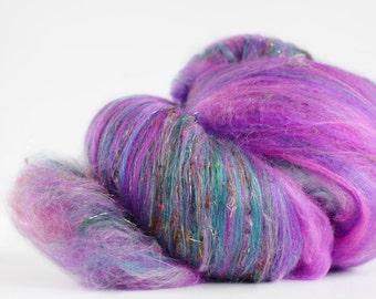 Gumball 3 oz  Wool - Merino // Art Batt // Wool Art Batt for spinning or wet felting