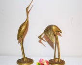 Vintage Brass Crane Couple