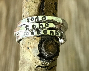 stackable name ring, ONE personalized fine silver ring, gift for her, stacking rings, girlfriend gift, personalized name rings mother