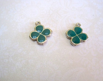 Teal Enamel Charms - Set of 2 - 20x17mm