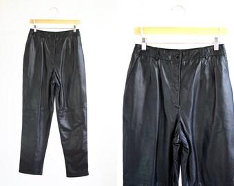 JH Collectibles Vintage Black Leather Woman High Waist Paper Bag Retro Pants