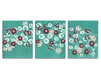 Flower Painting Canvas Art - Teal 3D Floral Decor Wall Triptych - Large 50x20