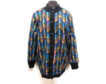 Vintage 80s 90s Cardigan Tunic Sweater Mohair Multicolor Oversized Geometric Stripes M Medium L Large