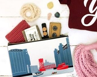 Buffalo NY silo city bag, ohio street, pouch, cluch, carryall buffalo ny gift, buffalo new york handmade gift, buffalo ny art