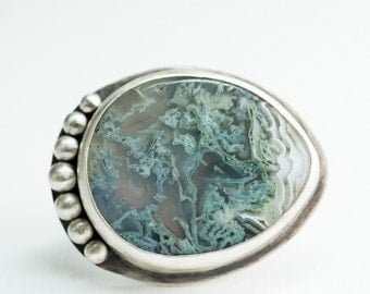 Catalina Statement Ring w/ Moss Agate Topography in Silver