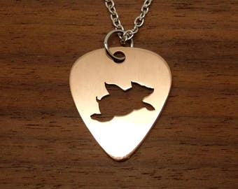 When Pigs Fly, Pig Necklace, Guitar Pick, Copper Necklace, Flying Pig Keychain, Copper Pick, Flying Pig Jewelry, Chain Or Key Ring