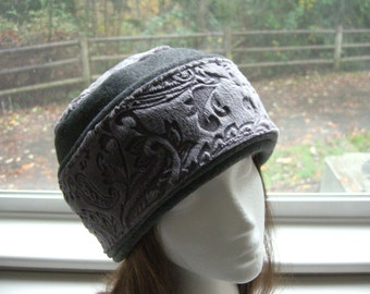 Adult Minky Fleece Black PILLBOX Hat, Women's Winter Fleece Hat