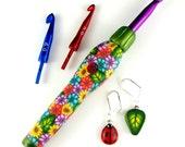 Interchangeable Ergonomic Crochet Hook Set - Green with Multi-Floral Pattern