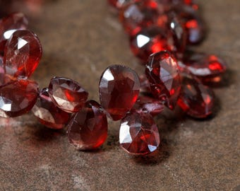 Mozambique Garnet Faceted Flat Teardrop Beads