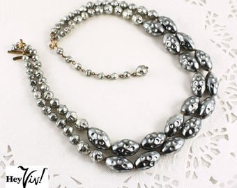 "Silver Blue Textured Bead Pearl Necklace - Austria 50s Vintage Double Strand - 17"" long - Hey Viv Vintage Jewelry"