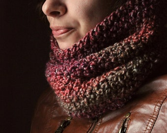 The Valentine Tree Storyteller Cowl. Rustic Bohemian Hand Crocheted Textured Cowl Neck Circle Scarf.