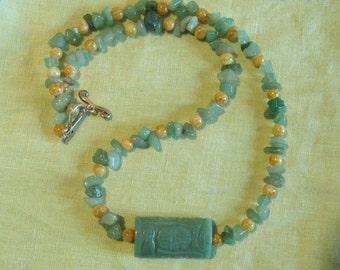 "Green Jade Like Artisan Necklace - 23"" long"