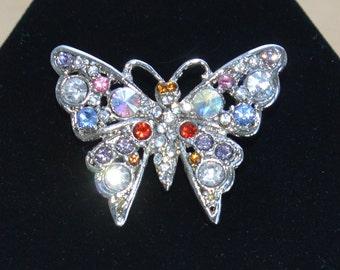 Pretty Vintage Multi-Colored Rhinestone Butterfly Brooch, Silver tone (AG16)