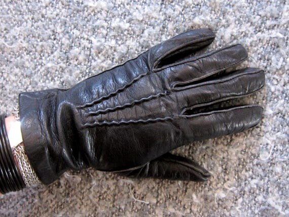 Black Leather Gloves Vintage Driving Gloves Dress Up Retro Fall Winter gloves Men's Small Women's Medium Large