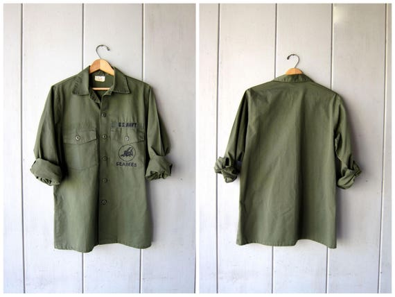 Vintage Army Shirt Jacket SEABEES Patches U.S NAVY Shirt Army Green Basic Grunge Punk Hipster Top Fatigues Military Patches Vintage Mens