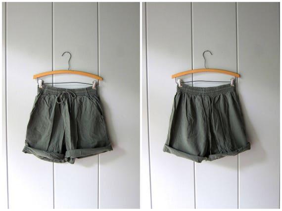 Drawstring Board Shorts 90s Elastic Waist Thin Cotton Shorts Minimal Green Shorts MOM Shorts with Pockets Vintage Beach Shorts Women Small