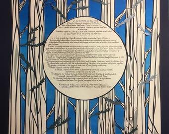 Redwood Fairy Ring Papercut Ketubah - Hand lettering Hebrew - wedding artwork