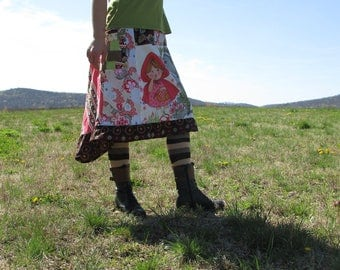 Handmade vintage recycle fabric Little Red Riding Hood & Big Bad Wolf skirt patchwork uneven hem