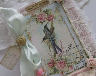 Shabby Rose Mini Journal With Vintage Birds and Millinery Flowers