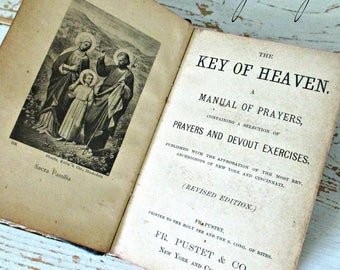 """ANTiQuE 1888 """"KEY OF HEAVEN"""" MaNuaL of PRaYeRS -Made in Switzerland"""
