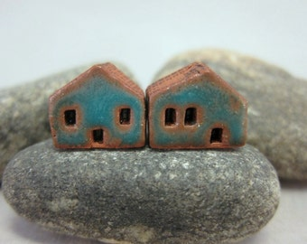 READY TO SHIP...Miniature Terracotta House Beds...Set of 2...Matte Turquoise Blue