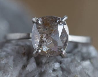 One of a Kind Natural Rose Cut Champagne Diamond Ring