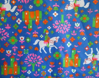 Vintage Fairytale Fabric Castle Knight Flowers 2.7 yards