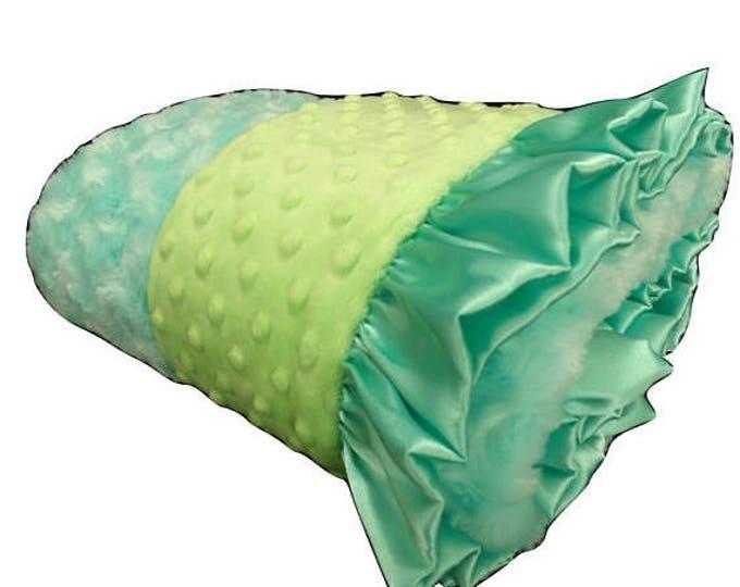 SALE Minky Baby Blanket Robin's Egg blue and Mint Green Swaddle Blanket