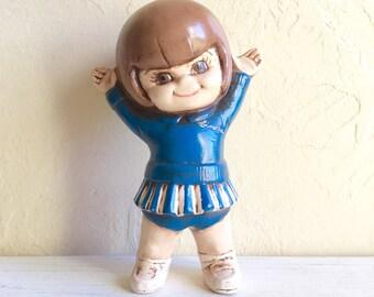 Cute Vintage Cheerleader Girl Ceramic Blue Uniform
