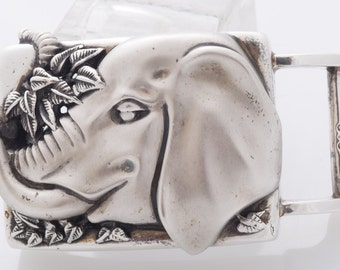 Barry Kieselstein Cord Elephant Belt Buckle Sterling Silver